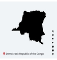 High detailed map of Democratic Republic Congo vector image