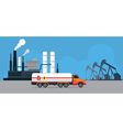 Oil Tank Truck Side View and Refinery vector image