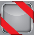 Silver blank app icon with red ribbon vector image