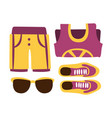 sneakers shorts and sun glasses in purple colors vector image