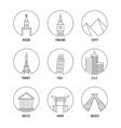 World landmark line art icons set vector image