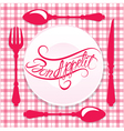 bon appetit calligraphy red 380 vector image