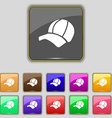 Ball cap icon sign Set with eleven colored buttons vector image