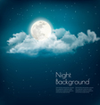 Night nature sky background with cloud and moon vector image