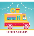 Hot Coffee and Donuts Food Truck and Lights vector image