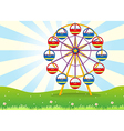 A ferris wheel at the hilltop vector image vector image