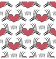 skeleton hands heart seamless pattern vector image