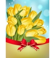 Yellow tulips with bow EPS 10 vector image vector image