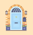 blue front door on the yellow brick wall with two vector image