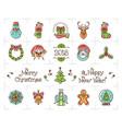 christmas line icons set holiday symbols new vector image