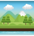 landscape mountain green river design vector image