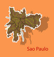 sao paulo brazil sticker map isolated on vector image