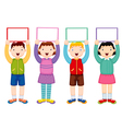 Kids holding white blank vector image vector image