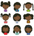 African-American girls avatar vector image vector image