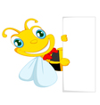 Bee cartoon holding blank paper vector image