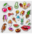 Big set of Girl Fashion Comics Style Patch Badges vector image