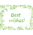 Greeting card with watercolor leaves vector image