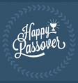 happy passover hand lettering vector image