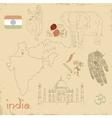 set of Indian symbols on vintage vector image