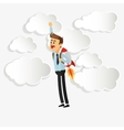businessman with jetpack icon vector image