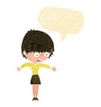 cartoon woman panicking with speech bubble vector image