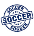 soccer blue grunge round vintage rubber stamp vector image