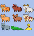 assorted cute animal vector image