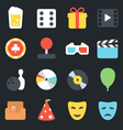 Entertainment Flat Icons vector image