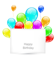 Greeting Card with Colorful Balloons for Happy vector image