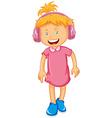 Little girl wearing headphone vector image vector image