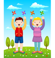 Kids playing wind wheel vector image