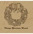 Christmas hand drawn wreath vector image
