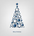 Christmas card with tree of blue circles template vector image