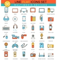 Multimedia devices flat line icon set vector image