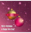 Christmas greeting card with decorative balls vector image