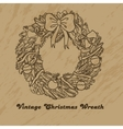 Christmas hand drawn wreath vector image