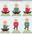 Elderly people yoga lifestlye symbols vector image