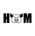 ham lettering emblem head pig and letters isolated vector image