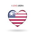 love liberia symbol flag heart glossy icon on a vector image