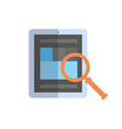 tablet computer with magnifying glass icon data vector image