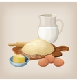 The dough on the board with a rolling pin Eggs vector image