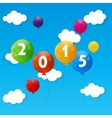 Color Glossy Balloons 2015 New Year Background vector image