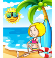Girl on beach vector image