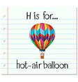 Flashcard letter H is for hot-air balloon vector image