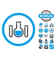 Chemical Vessels Flat Icon with Bonus vector image