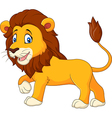 Cute lion walking isolated on white background vector image