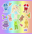 dress a cute doll with sets of clothes with vector image