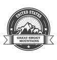 Great Smoky Mountains stamp - label with ribbon vector image