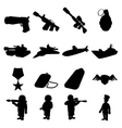 Military and war silhouettes icons set vector image