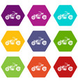 motorcycle icon set color hexahedron vector image